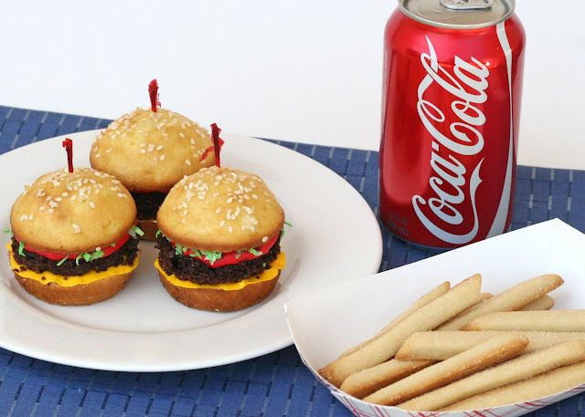 """""""hamburger"""" cupcakes and """"French fry"""" cookies."""