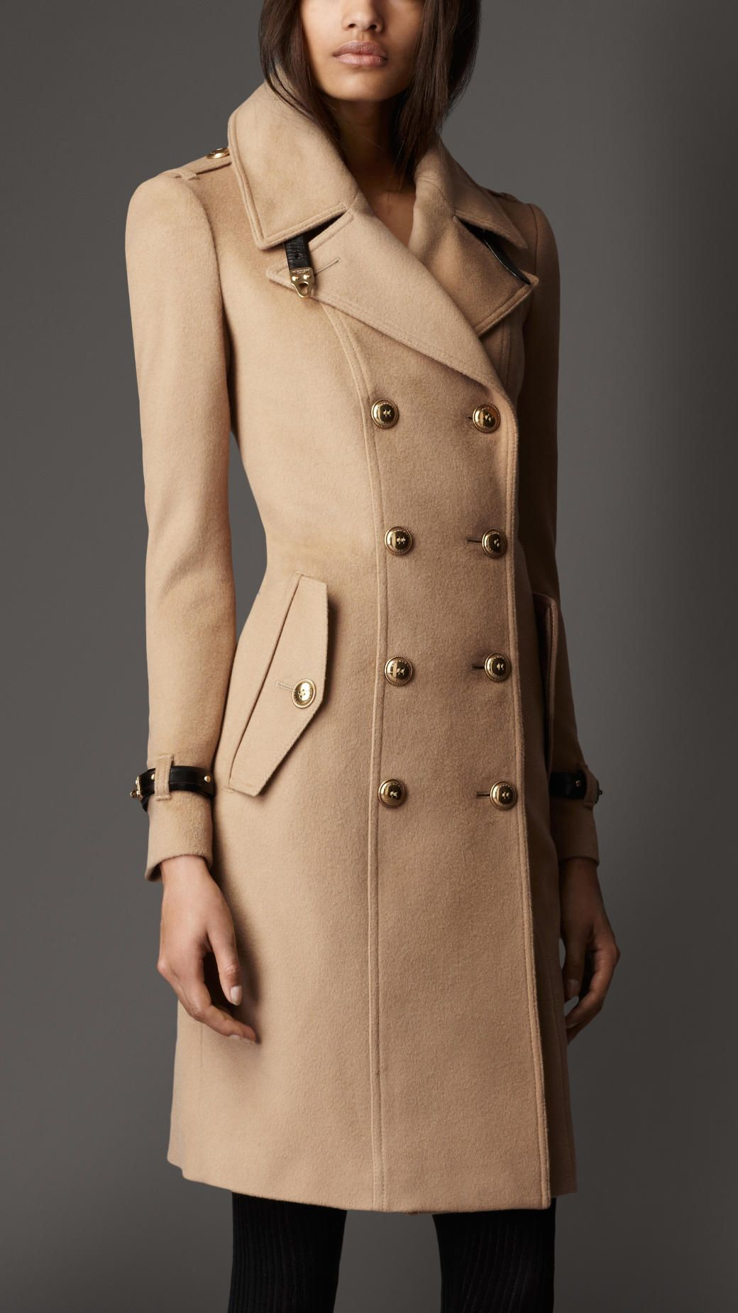 Women's Natural Leather Detail Wool Cashmere Coat | Cashmere