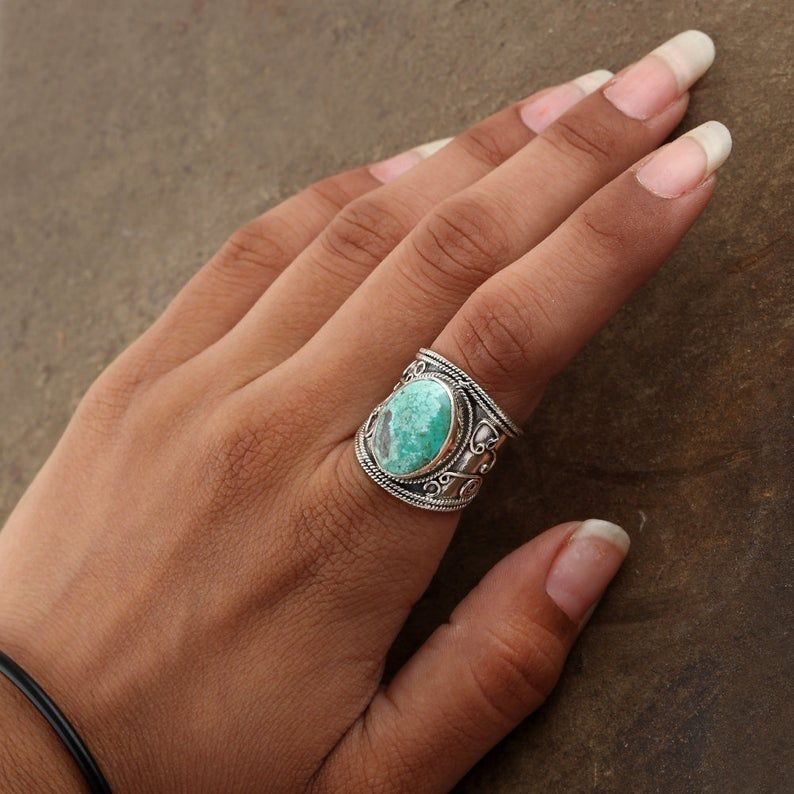 Photo of Antique Turquoise Ring, Bohemian Rings, Boho Ring Jewelry, 925 Sterling Silver Ring, Natural Gemstone Jewelry, Oval Shape Gemstone Rings,