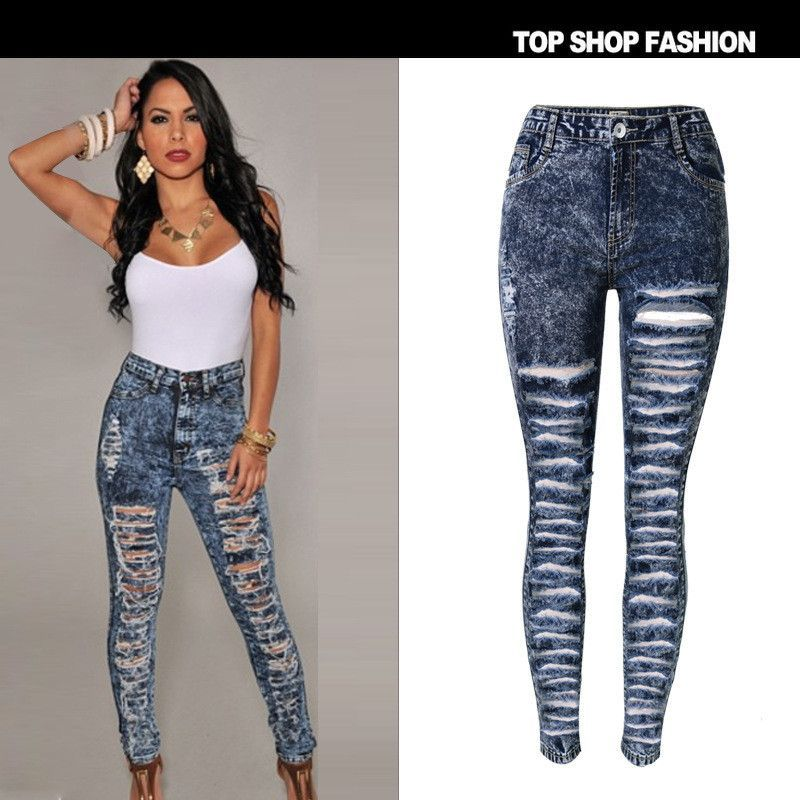 Dark Blue Pockets Single Breasted High Waisted Plus Size Distressed Ripped Bodycon Long Jeans
