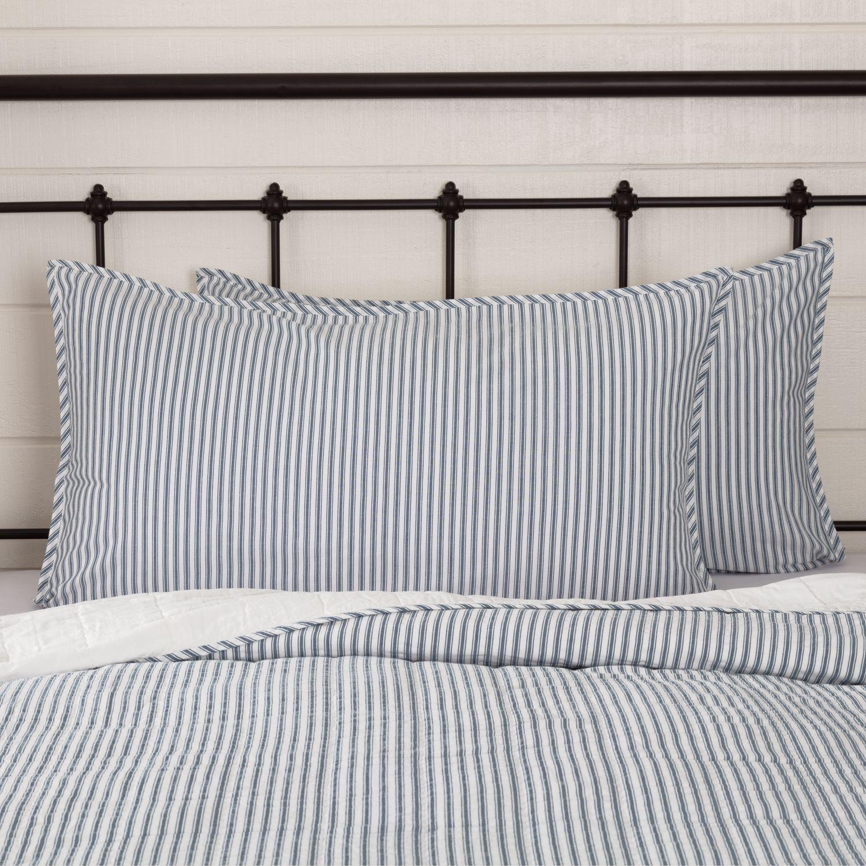 Denim blue farmhouse bedding miller farm ticking stripe
