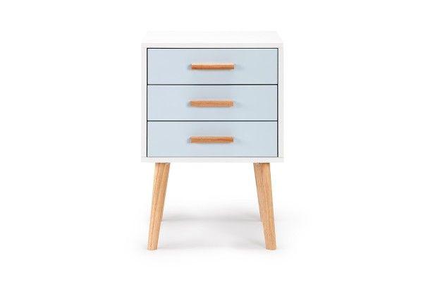 Ovela Scandinavian Style Bedside Table With Light Blue Drawers Bedroom Furniture Bedside Table Scandinavian Style Blue Drawers Bedside Table