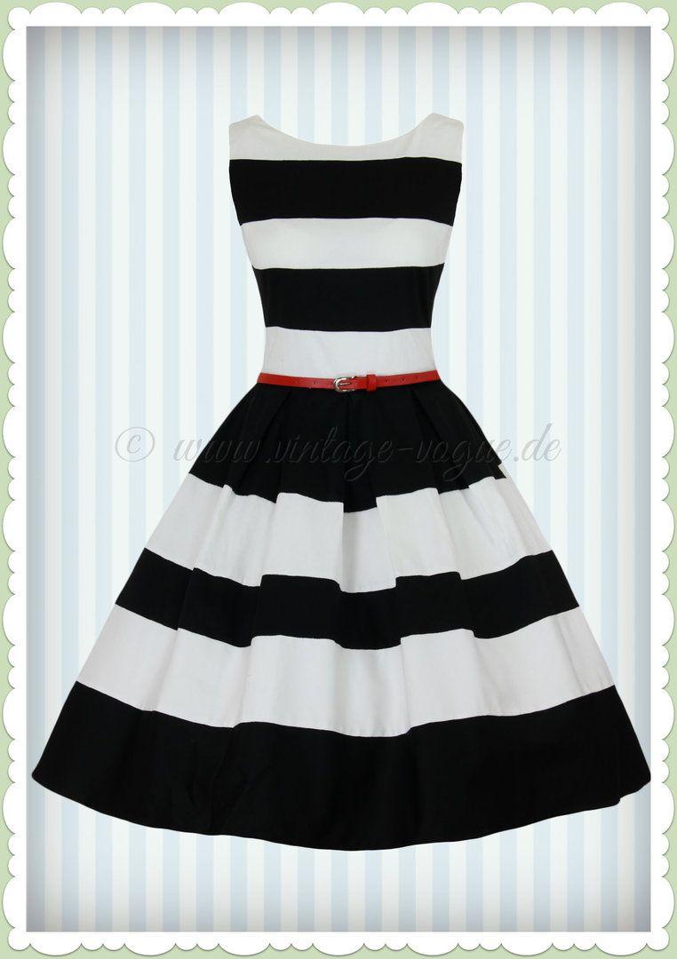 eda03fd3c8e8 Dolly & Dotty 50er Jahre Petticoat Streifen Kleid - Aurora - Schwarz ...