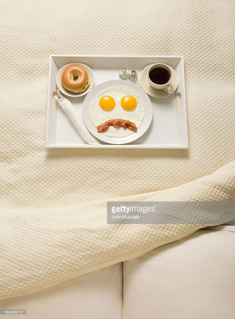 breakfast, bed, sad face, room service, bed and breakfast