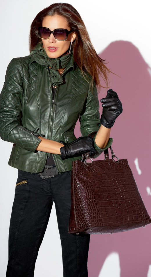 MADELEINE GREEN QUILTED LEATHER JACKET