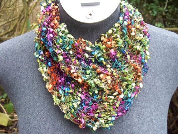 Multi Color Ladder Yarn Scarf by AraniAccessories on Etsy ...