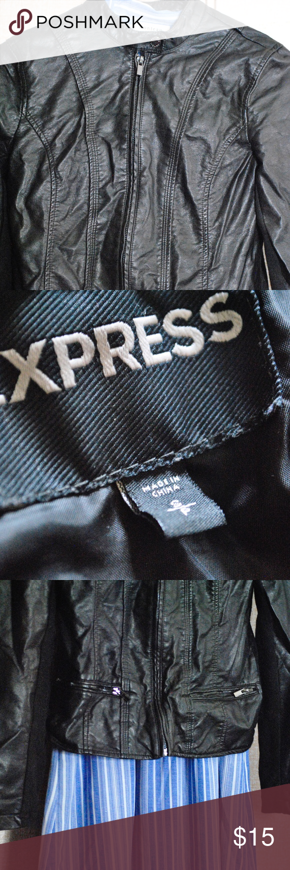 Express Faux Leather Jacket Form fitted jacket Good