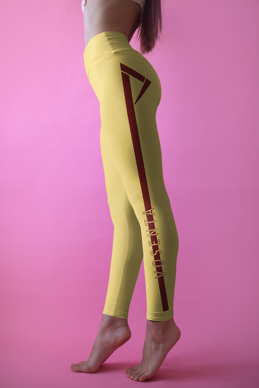 4af76c83877637 💛Macaron Yellow leggings $54.95 Macaron yellow leggings with minimalist  V-line designs on sides