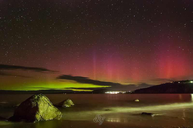 Taroona Beach - Aurora Australis, 12:24am on the 16th Jan 2015