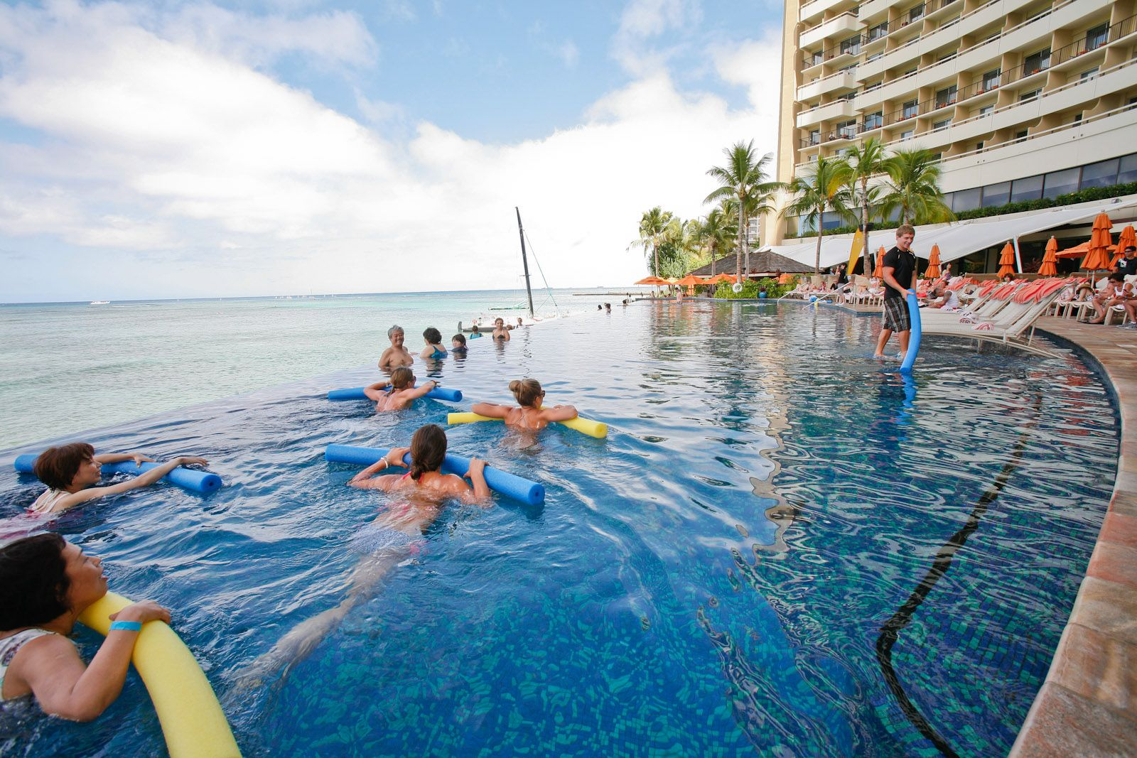 Who knew you can do yoga in the pool! Sheraton Waikiki