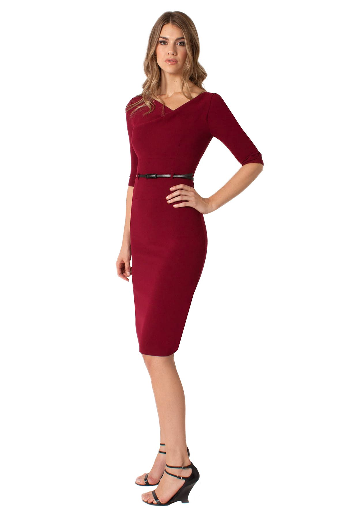 sleeve jackie o sheath in mulberry bellini pacific blue