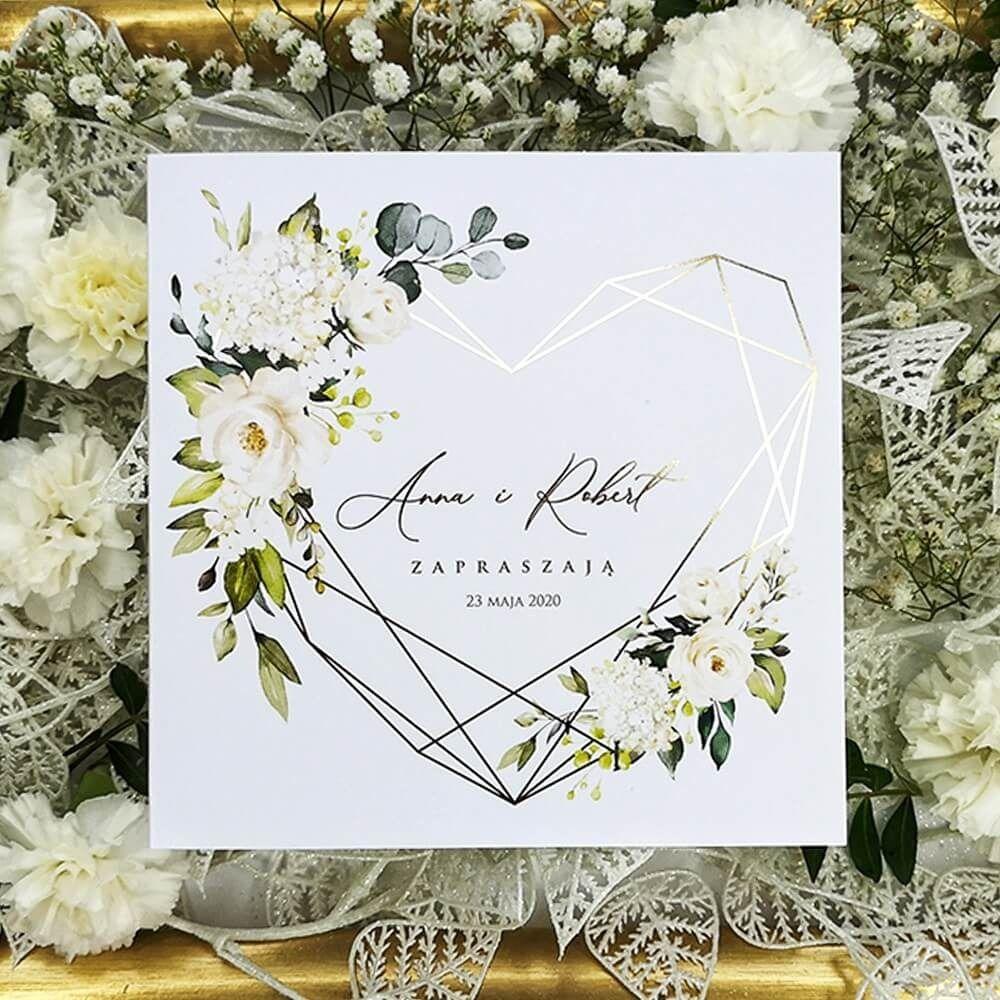 Geometryczne Zaproszenia Slubne Z Kwiatowym Motywem Oraz Zloconym Sercem Wedding Cards Wedding Invitations Wedding Book