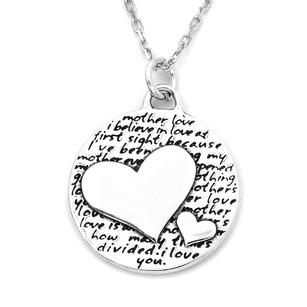 Two hearts mother love quote sterling silver large pendant
