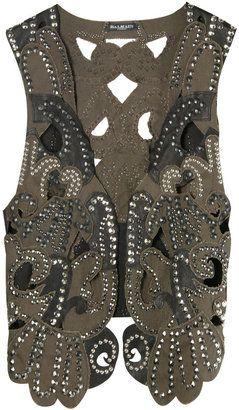 c54b78c1de ShopStyle: Balmain Khaki Studded Vest   BOHEMIAN STYLE VESTS   Khaki ...