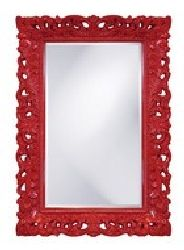 """2020R Barcelona Traditional  Large Wall or Bathroom Mirror by Howard Elliott 32"""" x 46"""" Glossy Cherry Red Frame - 100% Price Match - Free Shipping, No Tax."""