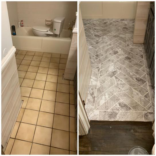 Trafficmaster Groutable 18 In X 18 In Light Travertine Peel And Stick Vinyl Tile 36 Sq Ft Case A8001821 Vinyl Tile Bathroom Vinyl Peel And Stick Floor
