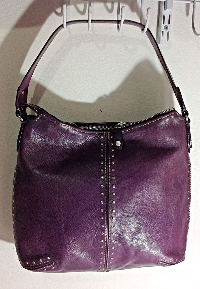 d20356d1bf7d MIchael Kors Purple Leather Studded Large Shoulder Hobo bag  MichaelKors   Hobo