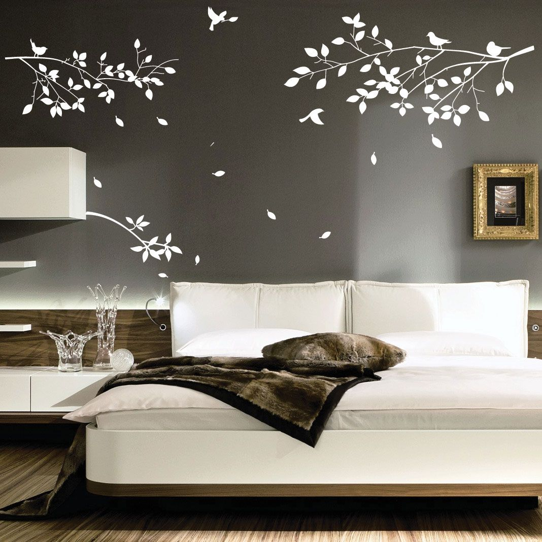Gray and white birdbranch decal tattoos pinterest art walls