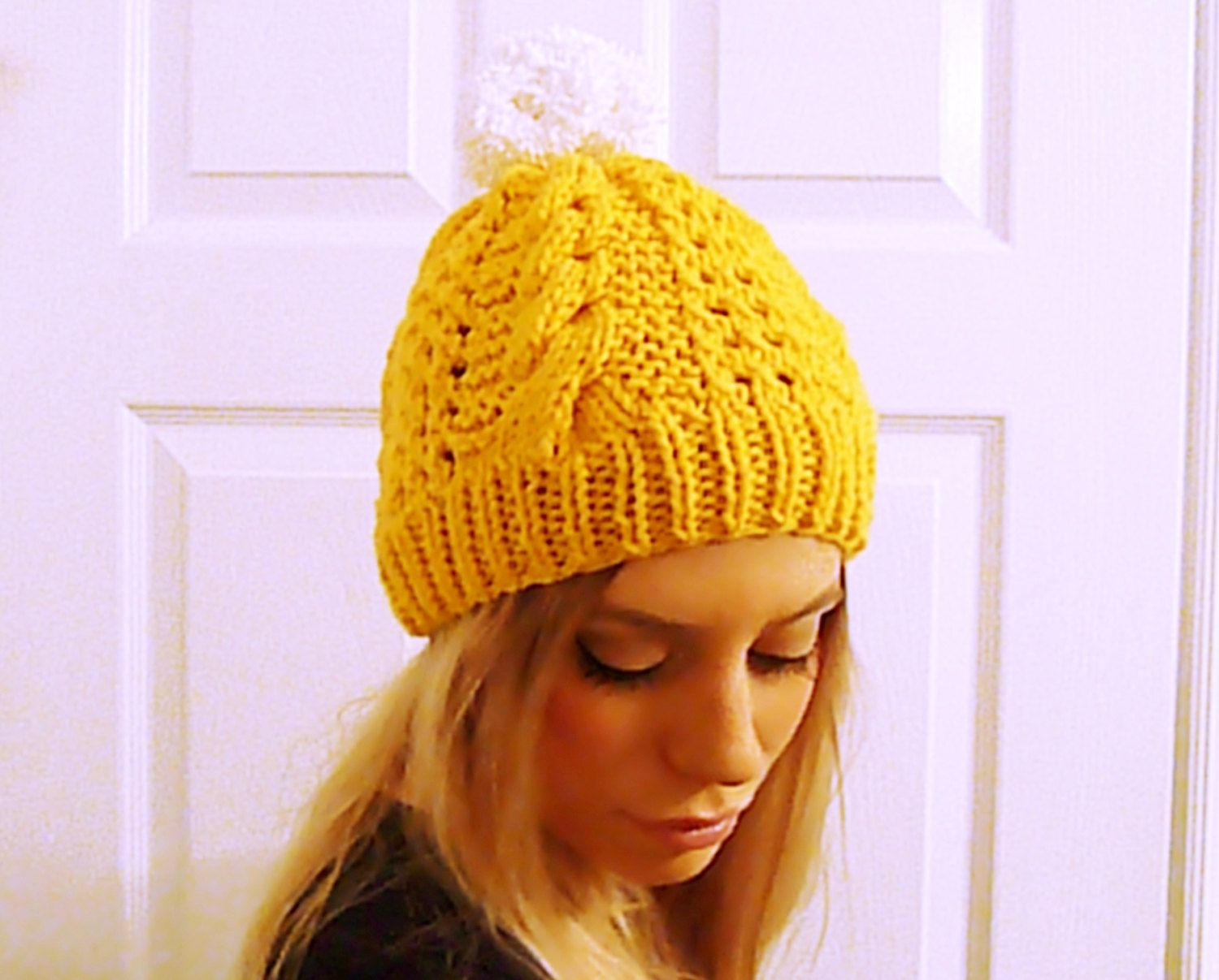 Knit pompom hat in sunflower yellow, cable hat, women toque, winter toque, pom pom hat, hat with pom pom, yellow pompom hat, hand knit toque - pinned by pin4etsy.com
