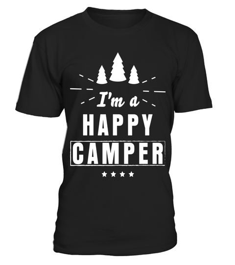 Happy Camper T-Shirt RV Tourism Camping Summer Nature Travel Mens Tee Shirt