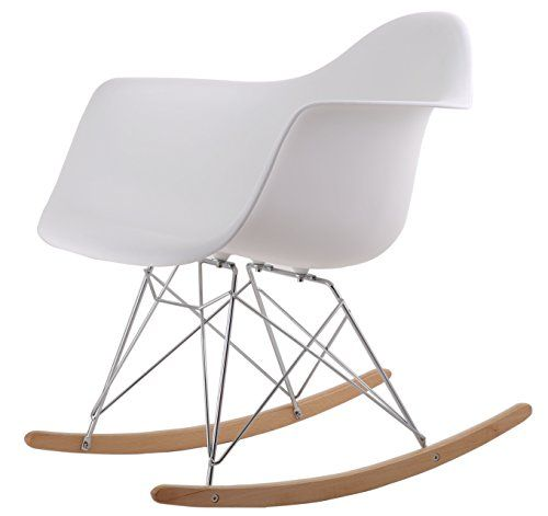 HNN Trading HNNHOME Eames Inspired Rar Lounge Retro Rocker Rocking Chair  Leisure Armchair White Reproduction Andlt
