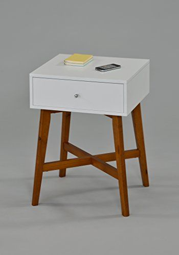 """Dark Oak / White Side End Table Nighstand with Drawer 24""""..."""