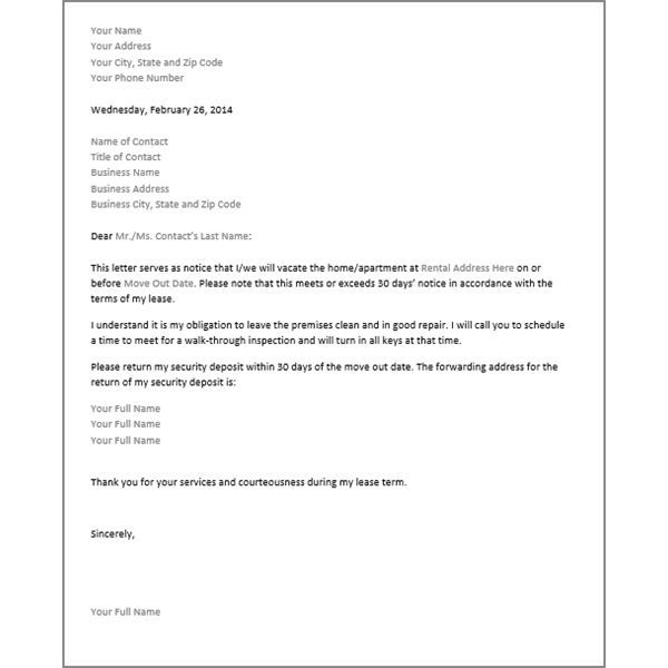 30 Day Notice To Vacate Letter Real
