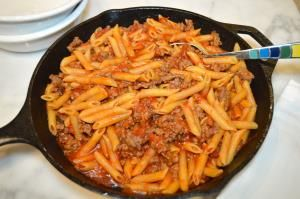 3 Ingredient Pasta Skillet  Recipe- Recipes  My 3 Ingredient Pasta Skillet is my go-to meal on busy weeknights. It is a hearty and satisfying meal that doesn't require a lot of preparation or ingredients. It's easier than Hamburger Helper!