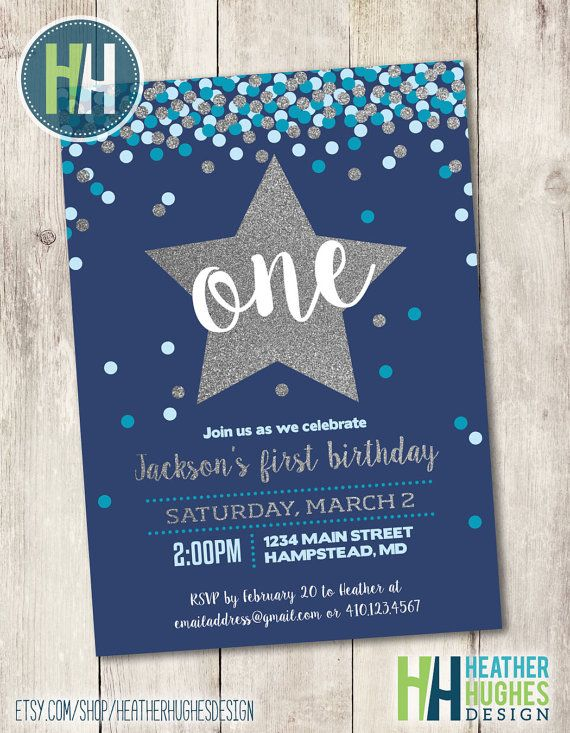 Boy First Birthday Invite 1st Birthday Printable Invitation Etsy Birthday Cards For Boys 1st Boy Birthday Boy First Birthday