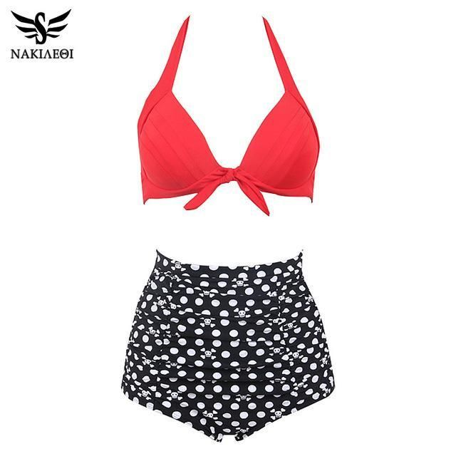 8c8253420a NAKIAEOI 60S Unique Retro Bikinis High Waist Swimsuit Push Up Swimwear Women  Plus Size Bathing Suits Printed Floral Bikini Set