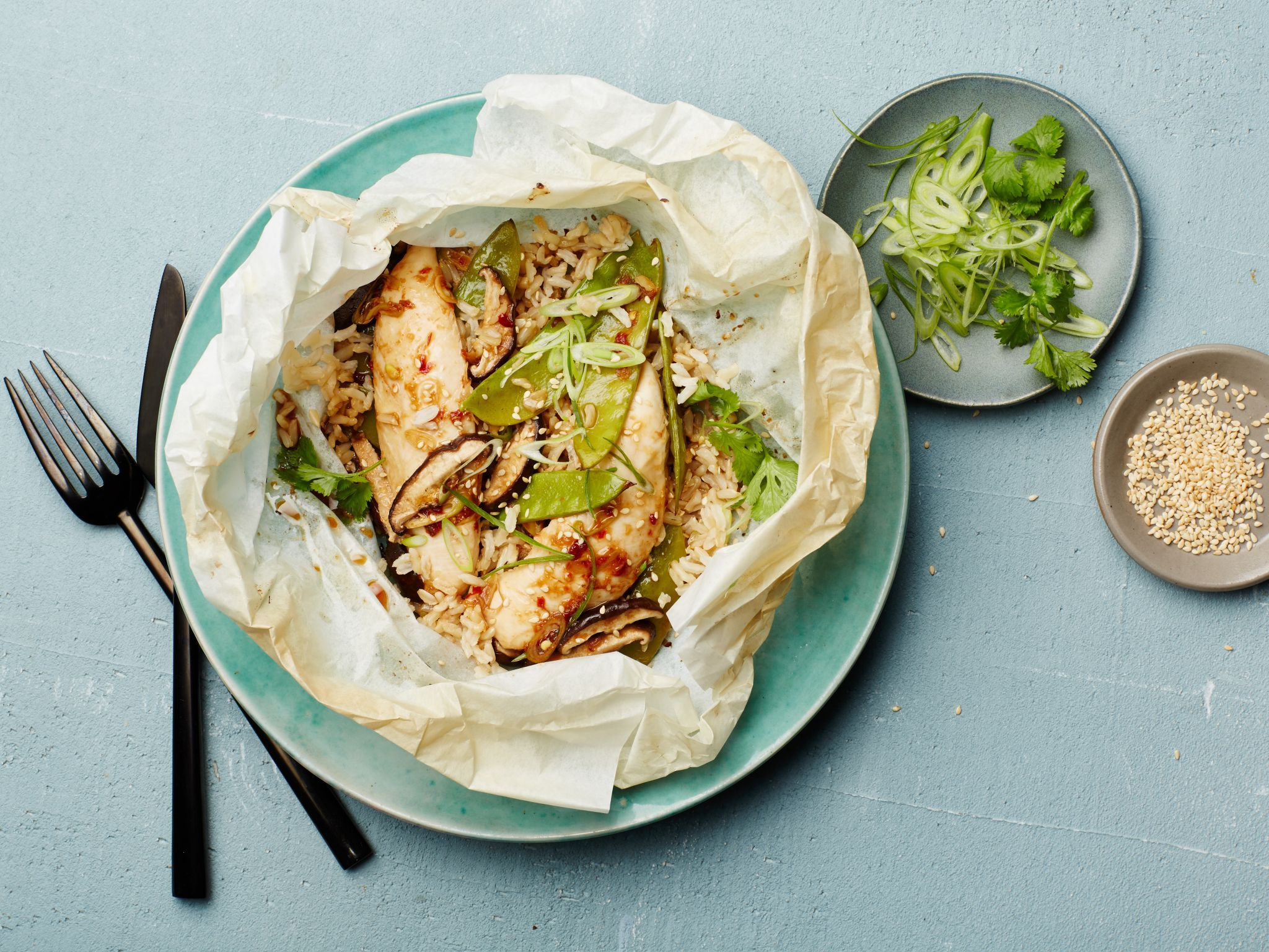Healthy parchment paper dinners foods recipes and soy sauce ginger scallion chicken parchment pack looking for lighter alternatives to classic breaded chicken tenders forumfinder Images