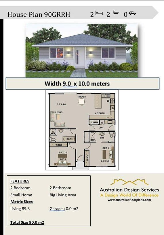 2 Bedroom House Plan 968 Sq Feet Or 90 M2 2 Small Home Design Small Home Design 2 Bedroom Granny Flat Concept House Plans For Sale In 2020 Small House Design House Plans House Plans For Sale