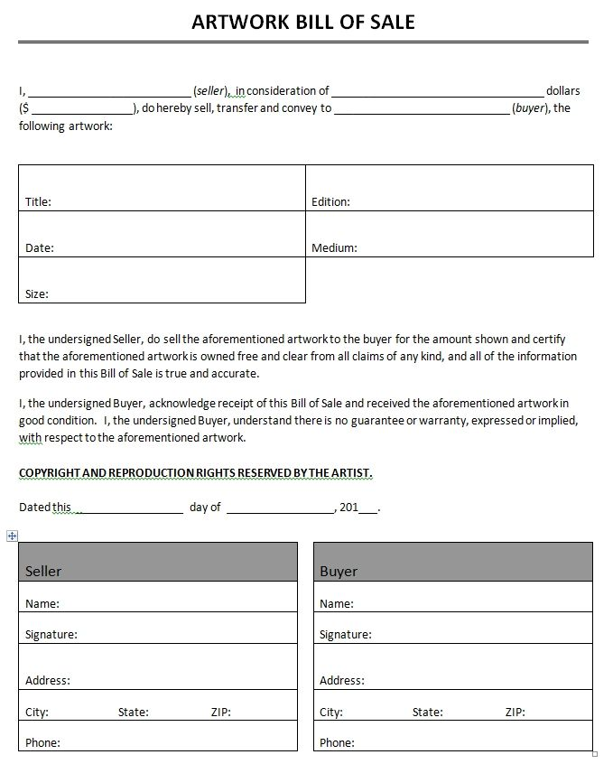 Printable Sample bill of sale templates Form Generic Form - generic bill of sale