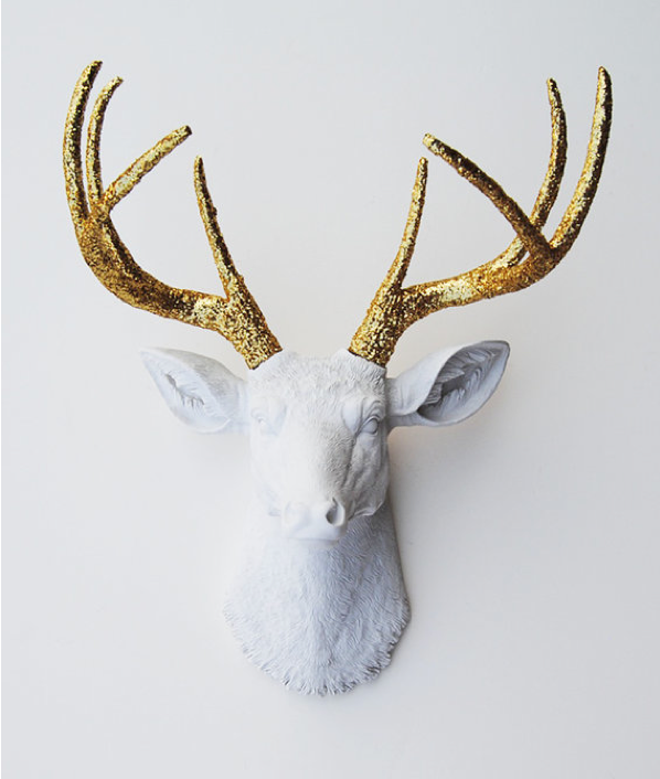 Plaster Animal Head With Gilded Antlers Cruelty Free Glamour Faux Taxidermy Winston White