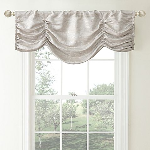 Waterford Reg Linens Aria Ruched Window Valance In Natural