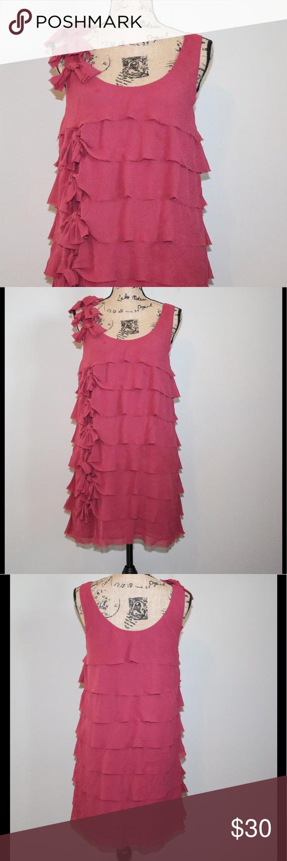 H&m dusty pink dress  H u M dusty rose ruffled dress sz   Pinterest  Dusty rose Ruffle
