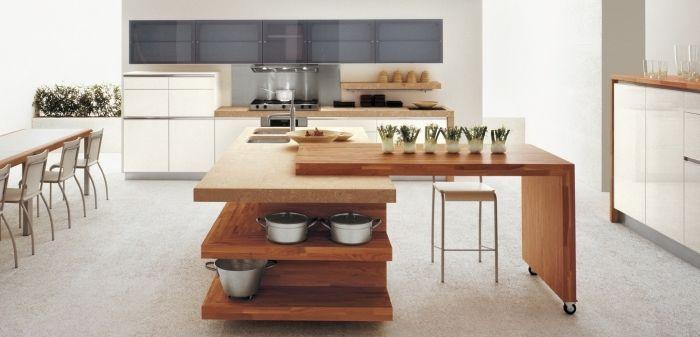 modèle de cuisine moderne aux murs blancs avec meubles de bois