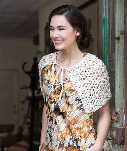 Exquisite Tied Capelet Free Crochet Pattern from Red Heart Yarns ...