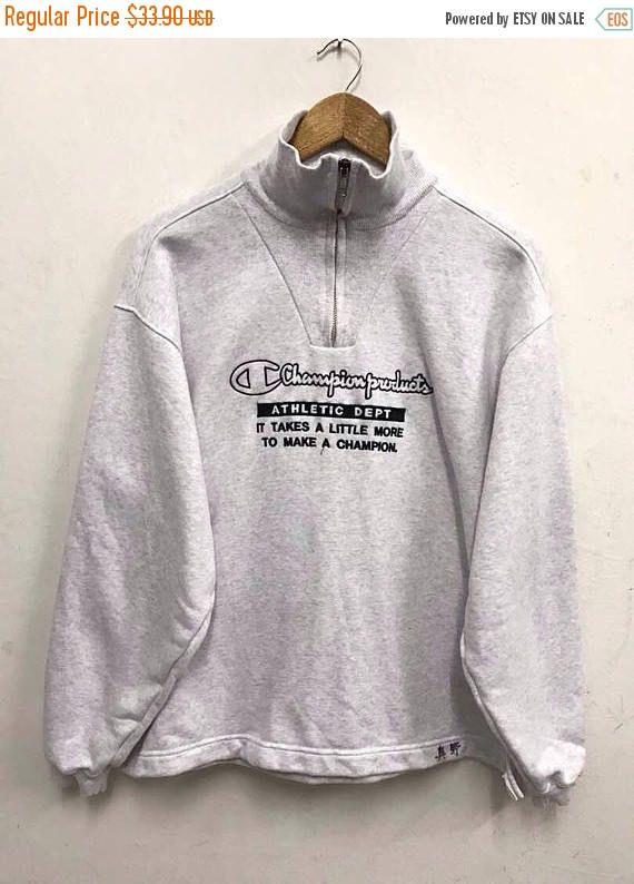 Champion Hoodie Gray Big Logo, Sweatshirt, Pullover, Vintage, Streetwear Large