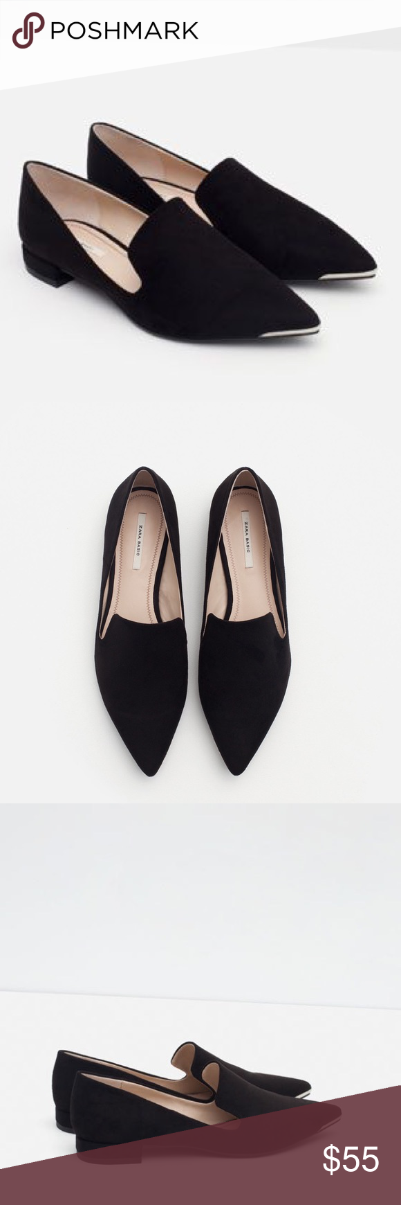5ac93bb619a Flats with metal toe Pointed toe..... will give any outfit a sharp look Zara  Shoes Flats   Loafers