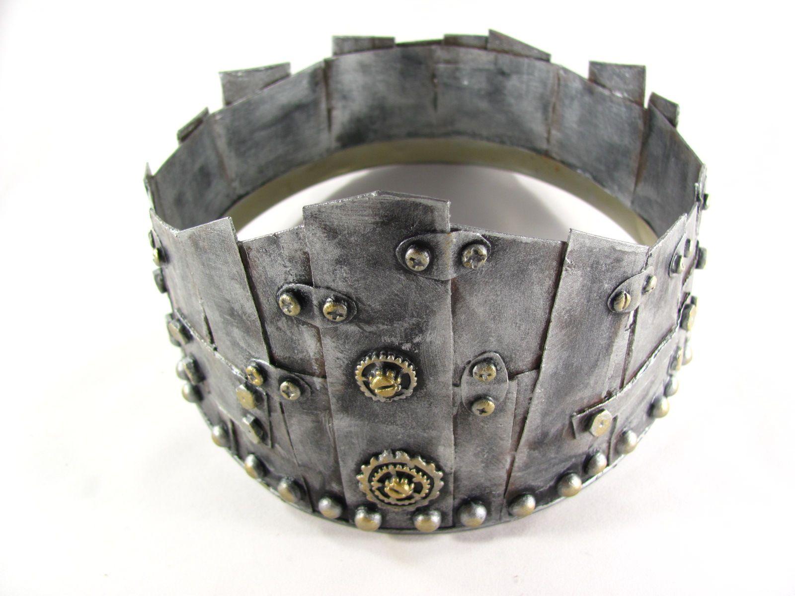 Faux Sheet Metal Crown For A Manly King Metal Crown Leather Bracelet Faux