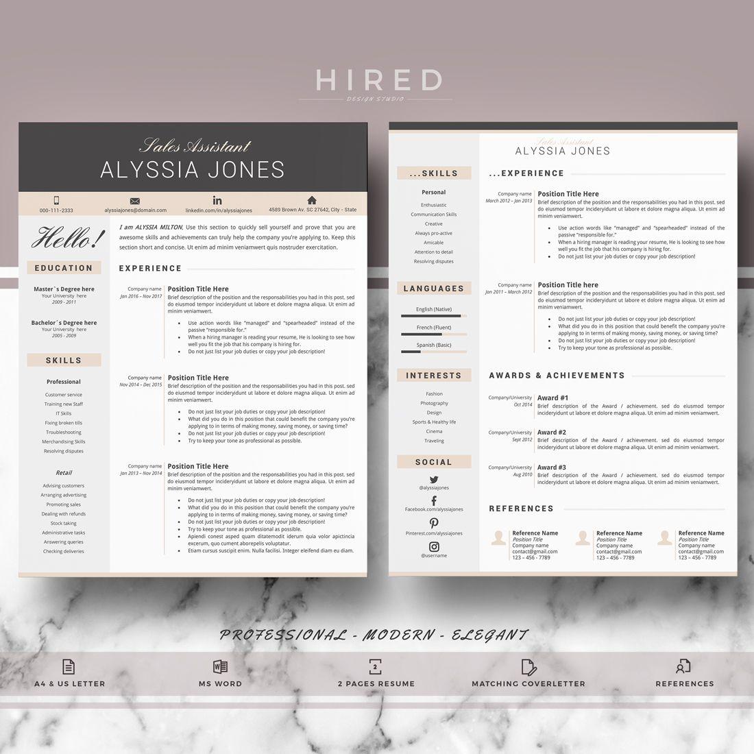 Resume Cv Resume Template Modern Resume Creative