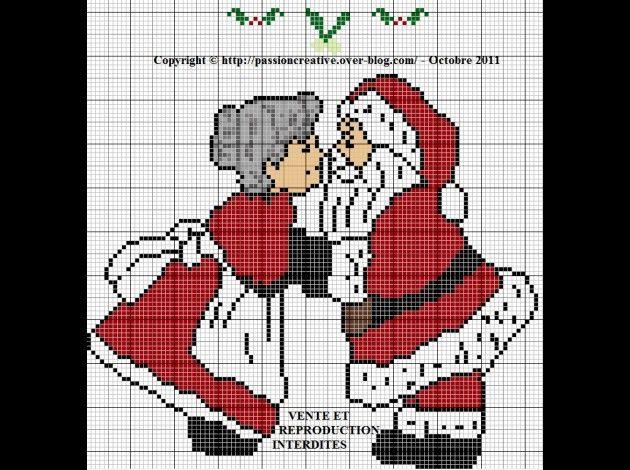 noël - christmas - père noël - mamie noël - point de croix - cross stitch - Blog : http://broderiemimie44.canalblog.com/