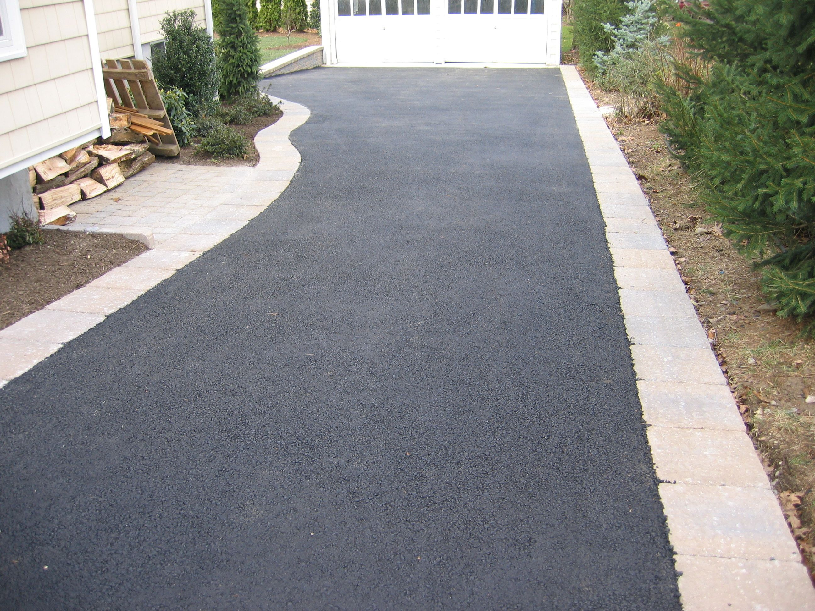 Contemporary with front steps gray brick driveway gray brick driveway - Asphalt Driveway And Brick Paver