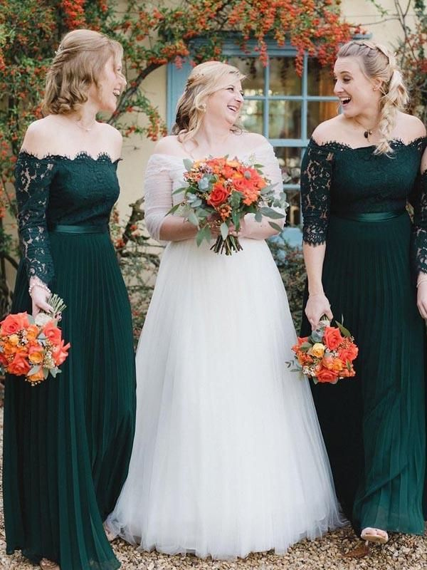 Off Shoulder Emerald Green Long A-line Chiffon Lace Bridesmaid Dresses #lacebridesmaids