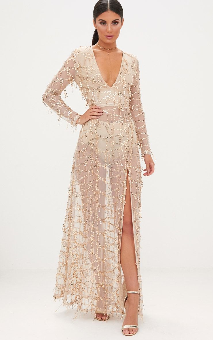 2c289cb1 Gold Premium Sequin Long Sleeve Maxi DressGet your shine on with this  Premium maxi dress,