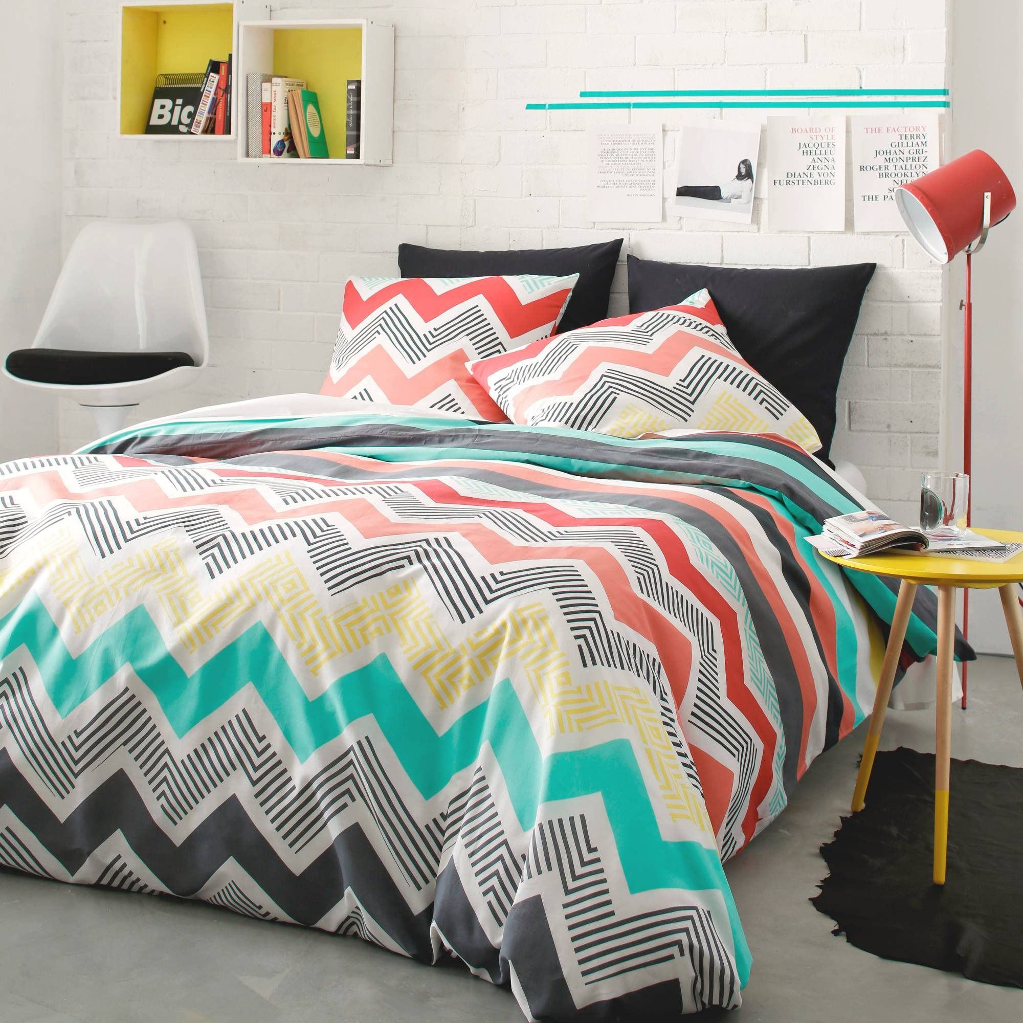 housse de couette coton rayures chevrons crush 3. Black Bedroom Furniture Sets. Home Design Ideas