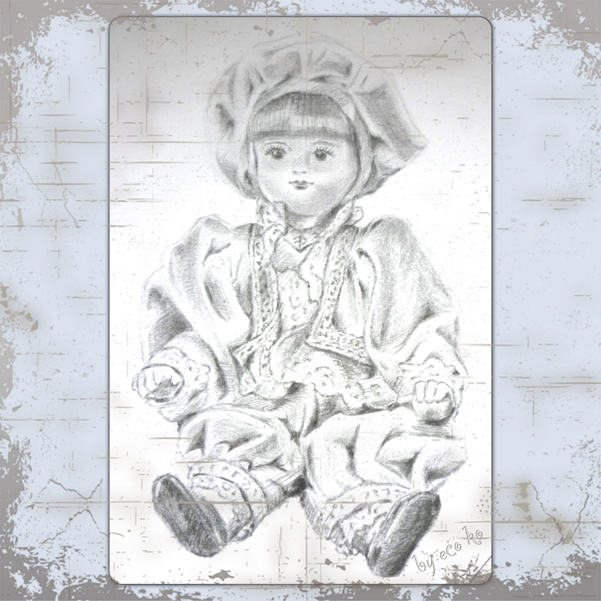 Pencil sketch of a porcelain doll from italy