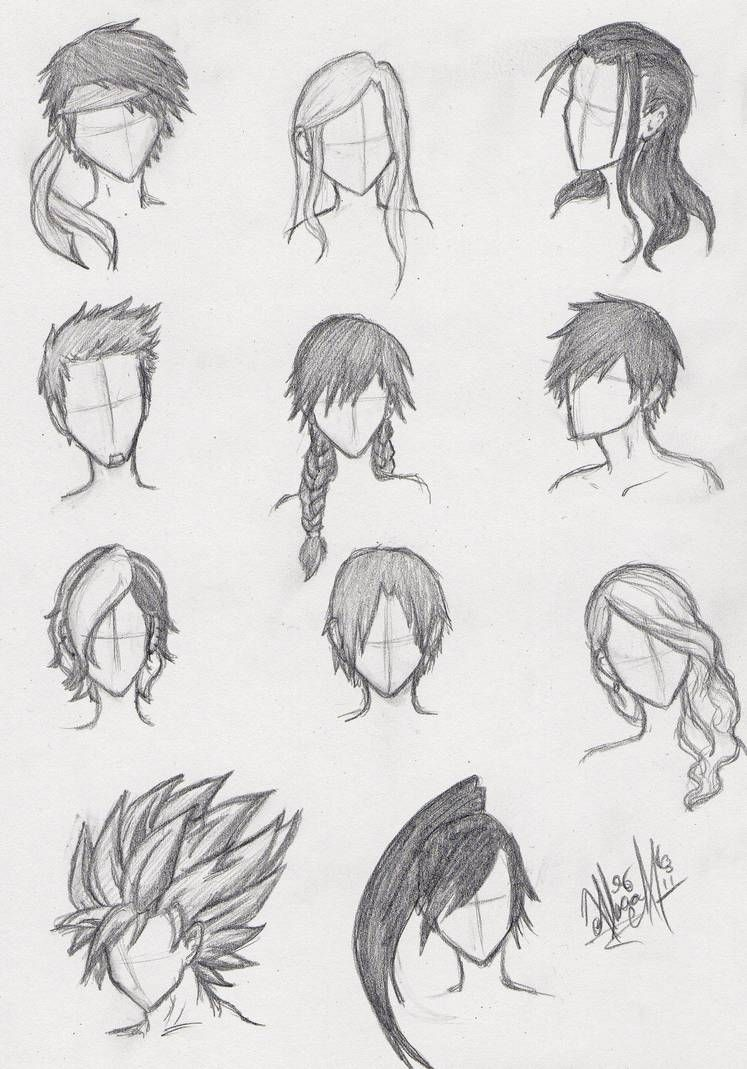 More Anime Hair Practice by ajbluesox (With images