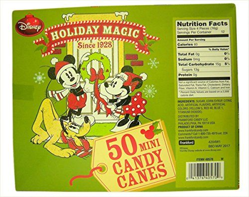 2016 Disney Mickey Mouse Fruit Flavored Mini Christmas Candy Cane, Pack of 50, 7.05 oz